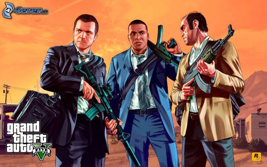 Grand Theft Auto V, mężczyźni, broń