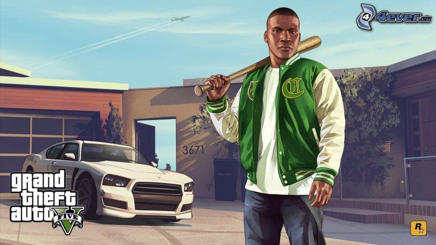 Grand Theft Auto V, samochód, kij baseballowy, samolot na niebie, smugi
