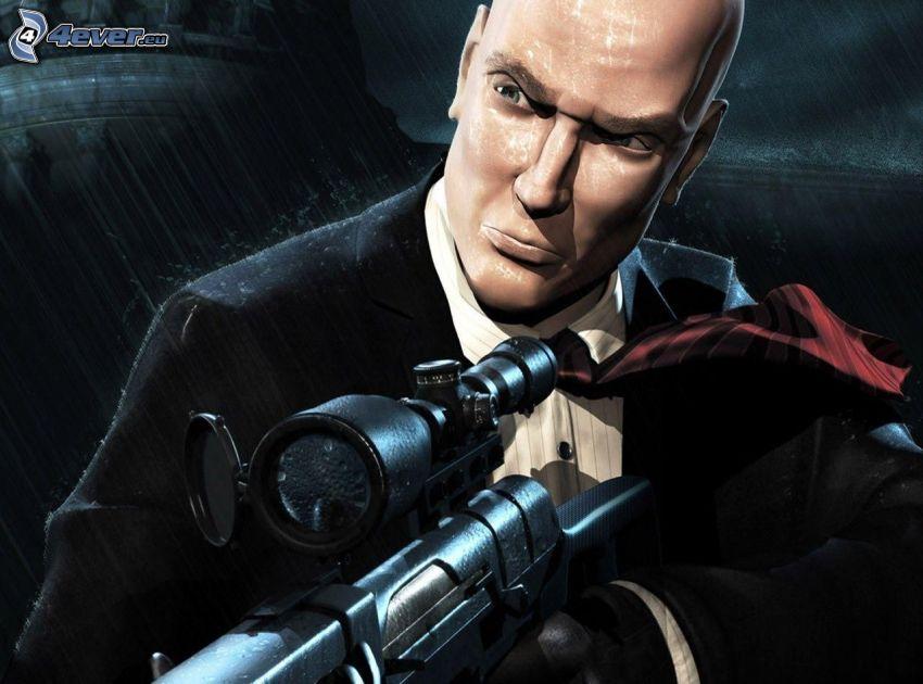 Hitman, mężczyzna z pistoletem, mężczyzna w garniturze, sniper
