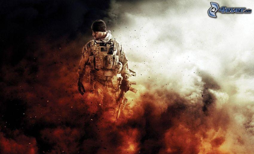 Medal of Honor, mężczyzna z pistoletem, dym
