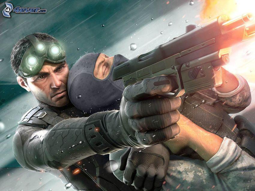Tom Clancy's Splinter Cell, mężczyzna z pistoletem