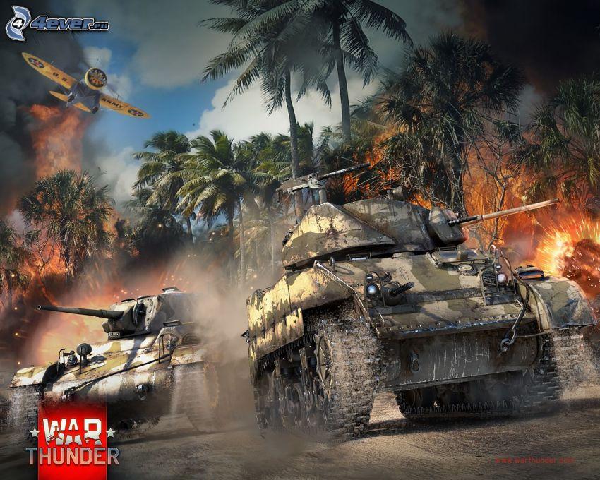 War Thunder, czołgi, samolot, palmy, ogień