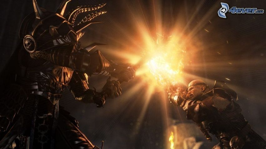 wojownik, potwór, gra komputerowa, poświata