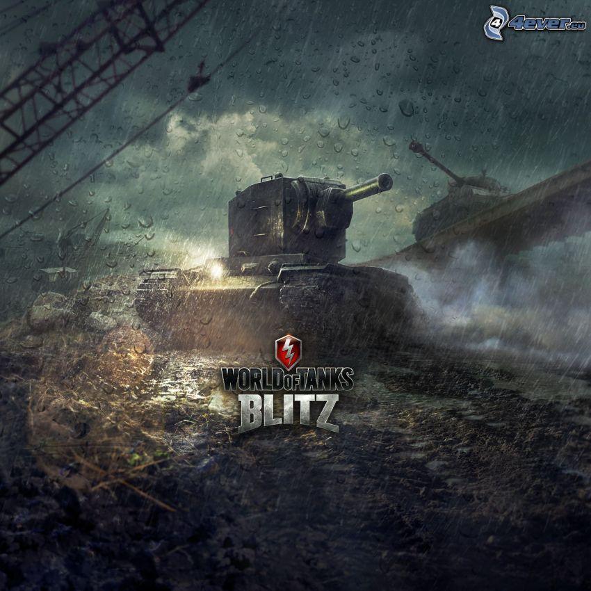 World of Tanks, czołg, deszcz