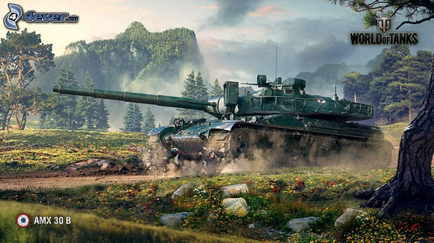 World of Tanks, czołg, góra, łąka