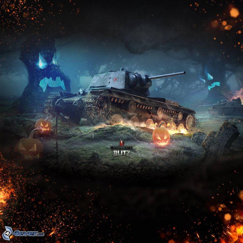 World of Tanks, czołg, halloween dynie