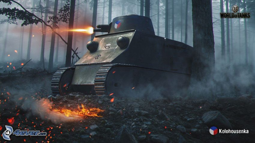 World of Tanks, czołg, las, strzelanie