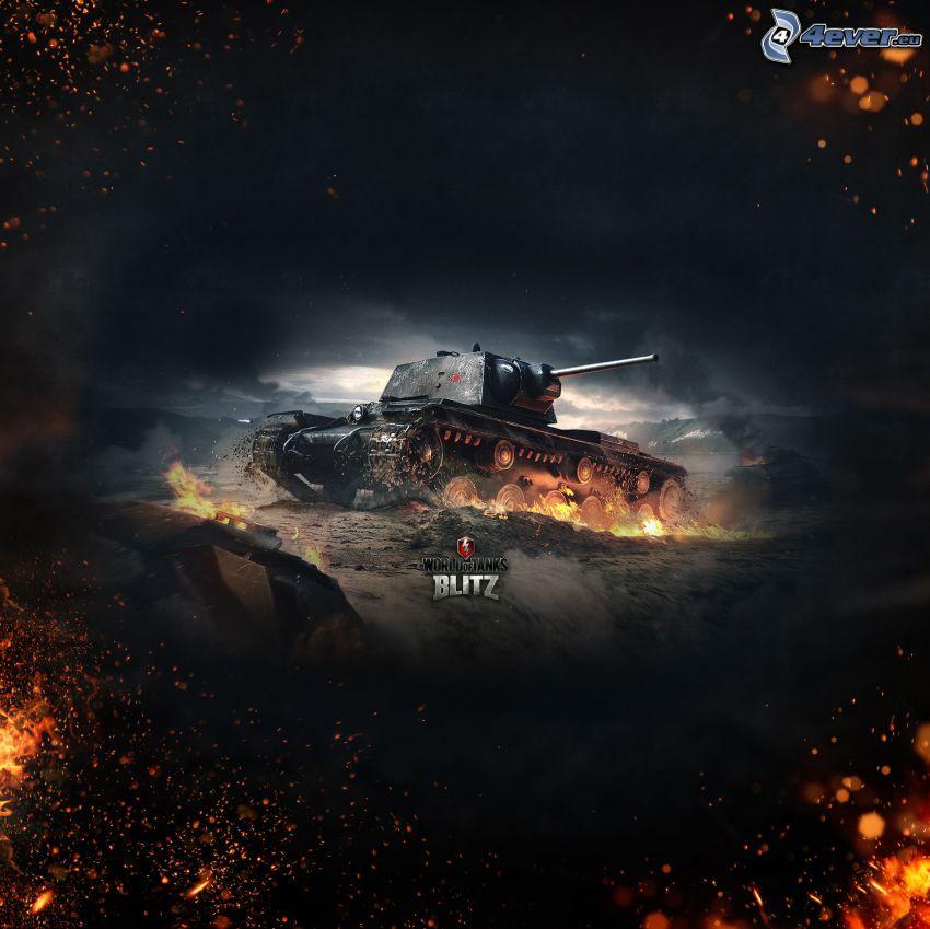World of Tanks, czołg, płomienie