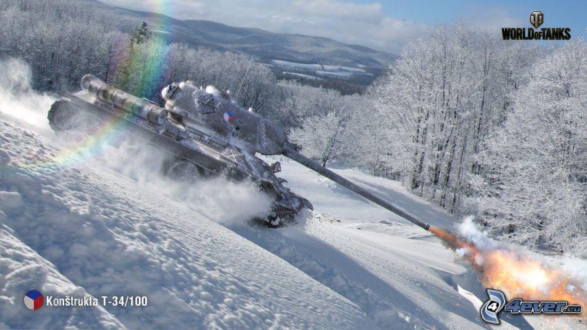 World of Tanks, czołg, strzelanie, tęcza, śnieżny krajobraz
