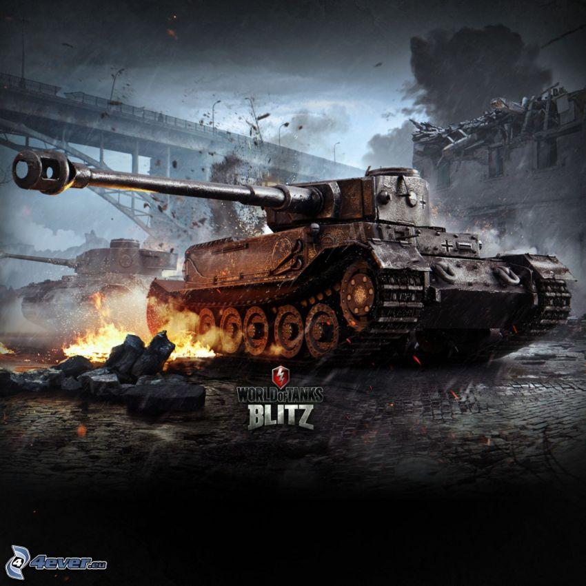 World of Tanks, czołg, Tiger, zniszczony most