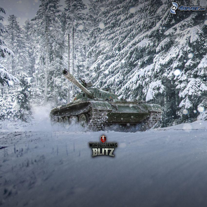 World of Tanks, czołg, zaśnieżony las