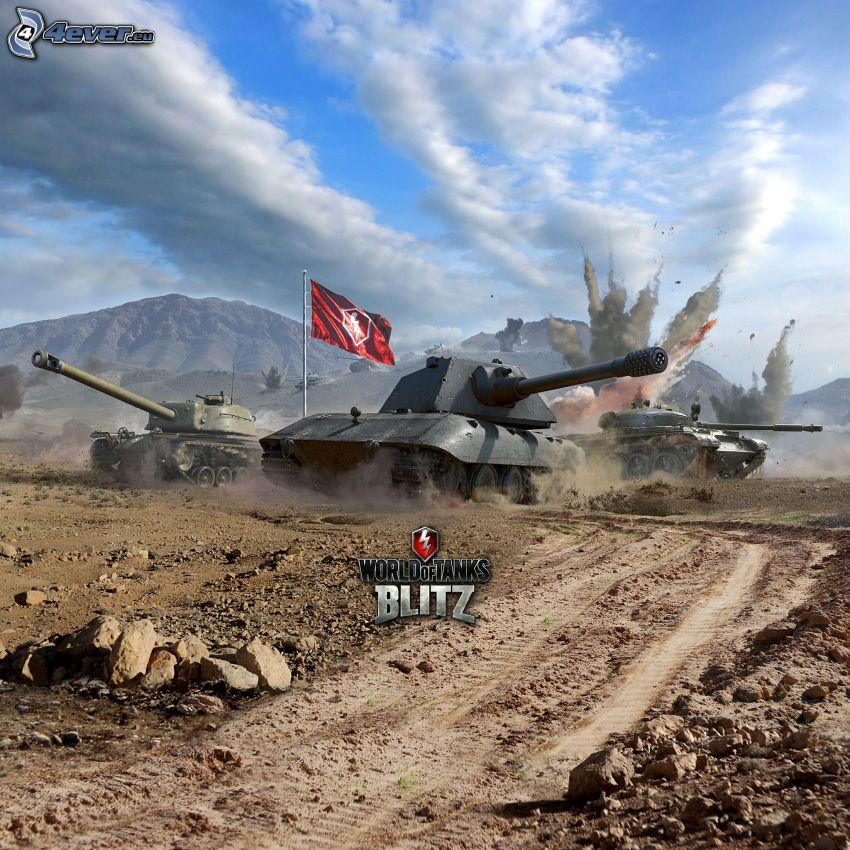 World of Tanks, czołgi, polna droga, bójka