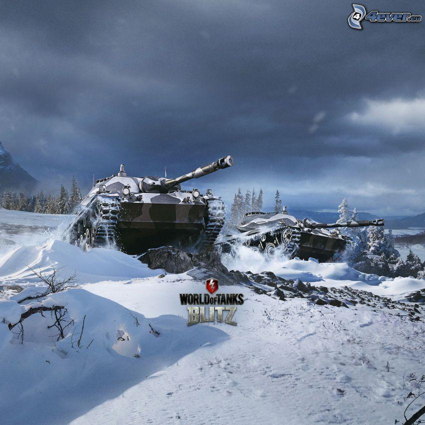 World of Tanks, czołgi, śnieżny krajobraz
