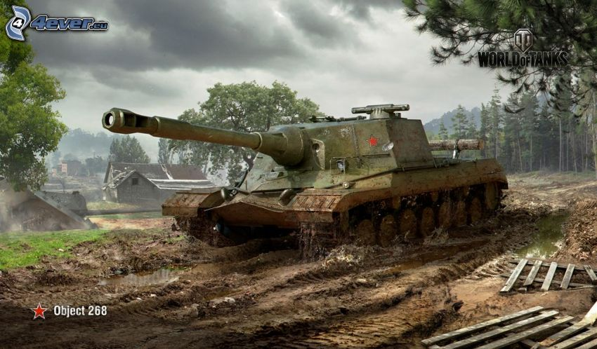World of Tanks, domki, las, ciemne chmury