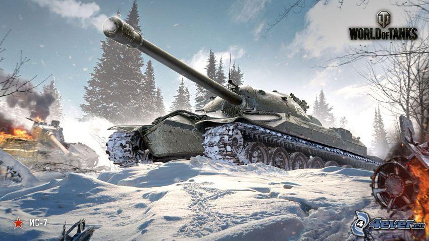 World of Tanks, śnieg, zima, strzelanie