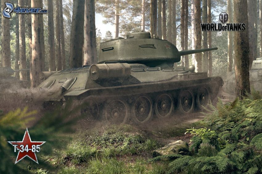 World of Tanks, T-34, czołg, las