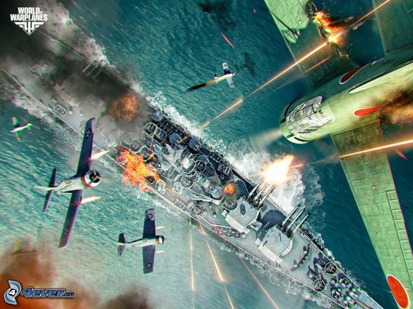 World of warplanes, myśliwce, statek, strzelanie