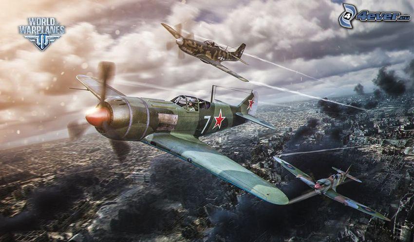 World of warplanes, samoloty, dym