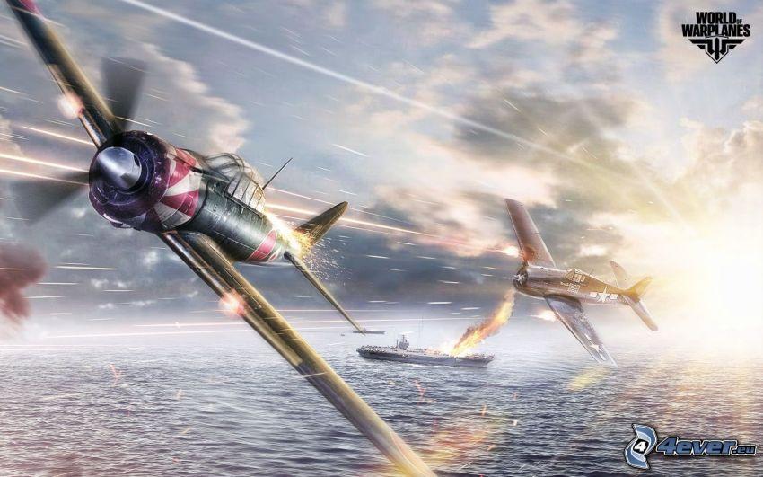 World of warplanes, samoloty, statki, strzelanie, morze