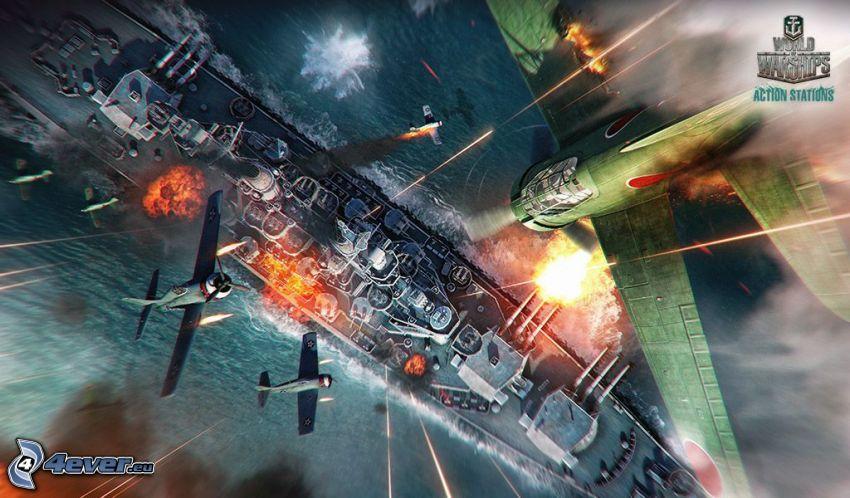 World of Warships, myśliwce, statek, strzelanie