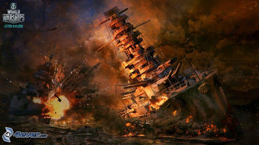 World of Warships, płonące statki, dym, strzelanie