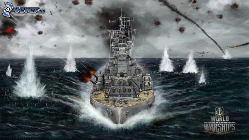 World of Warships, statek, samoloty, strzelanie, morze otwarte