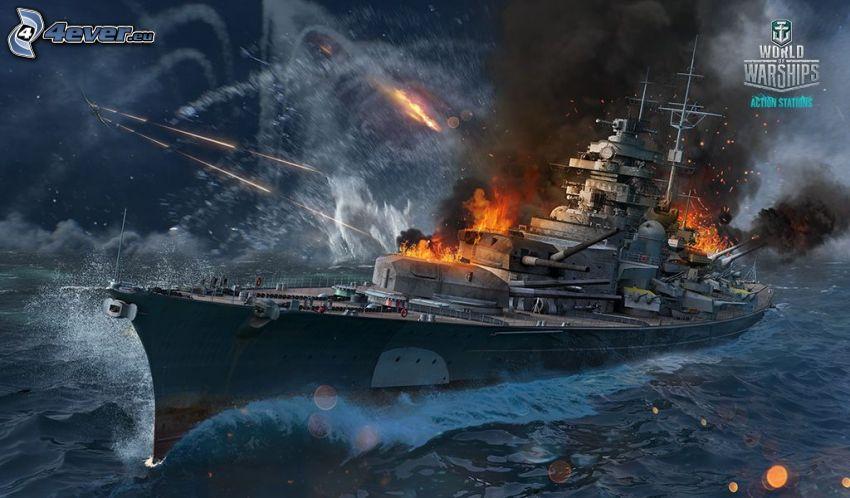 World of Warships, statek, strzelanie