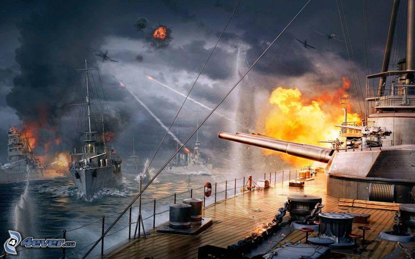 World of Warships, statki, strzelanie, ogień