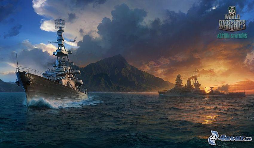 World of Warships, statki, strzelanie, pasmo górskie