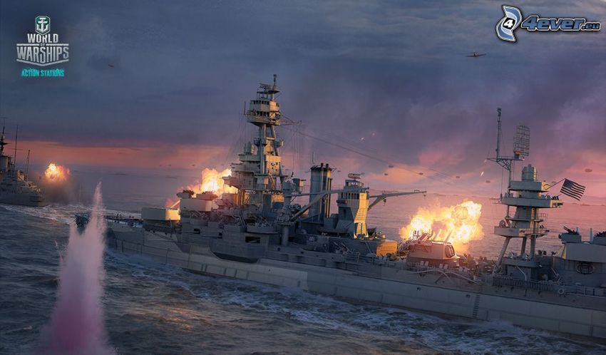 World of Warships, statki, strzelanie, samoloty