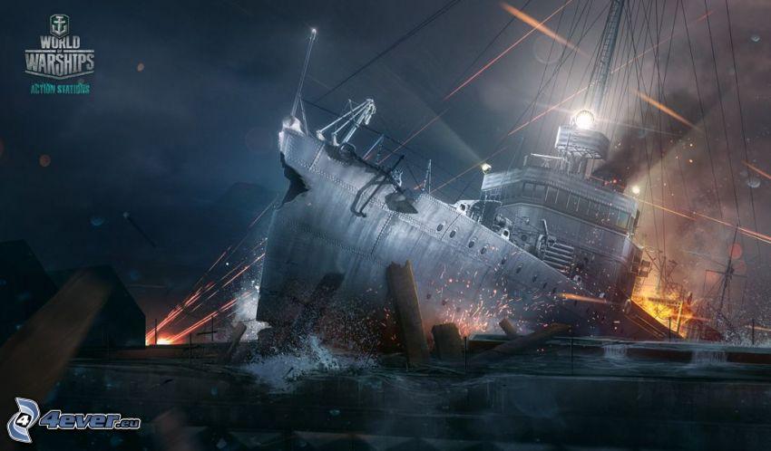 World of Warships, zderzene, statki, strzelanie