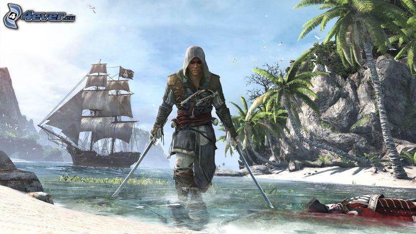 Assassin's Creed, wojownik, po walce, żaglowiec, zatoczka