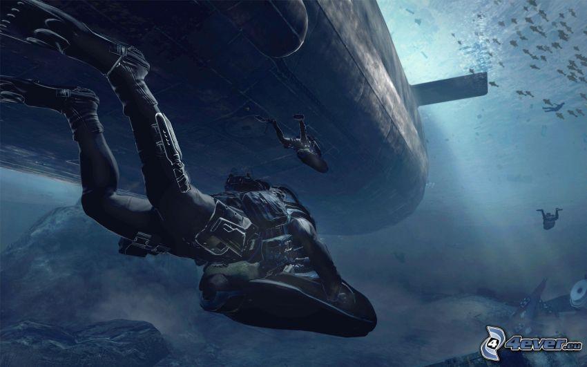 Call of Duty: Modern Warfare, nurkowie, łódź podwodna