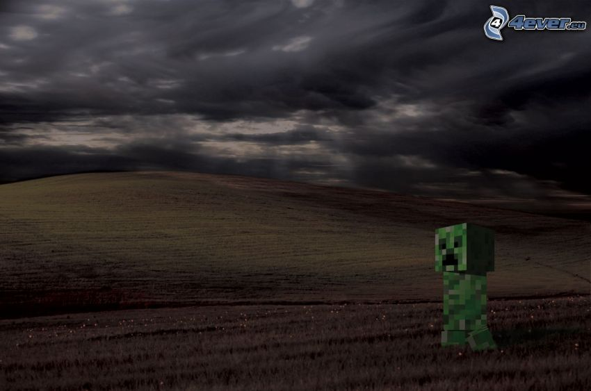 Creeper, Minecraft, pole, ciemne niebo