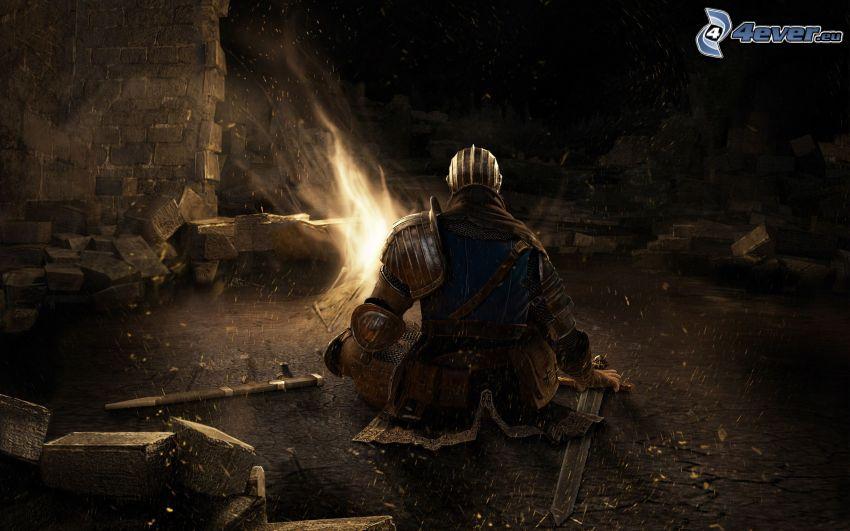 Dark Souls, rycerz, ogień, noc