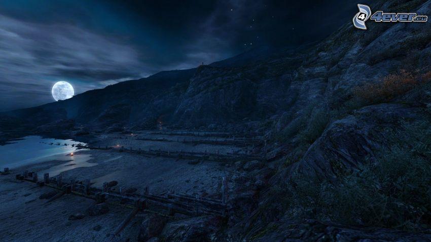 Dear Esther, nocny krajobraz, księżyc
