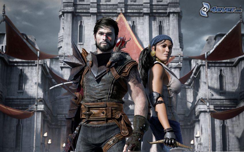 Dragon Age II, wojownicy, średniowiecze, zamek