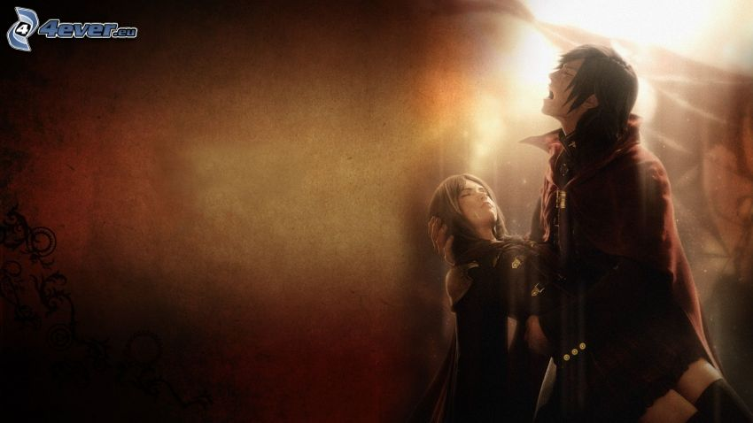 Final Fantasy, rysowana para, śmierć, smutek