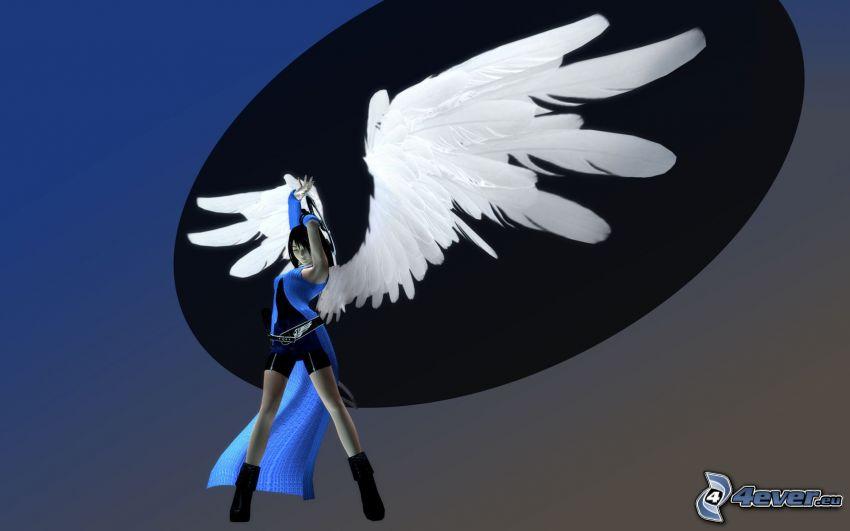 Final Fantasy VIII, kobieta ze skrzydłami, białe skrzydła