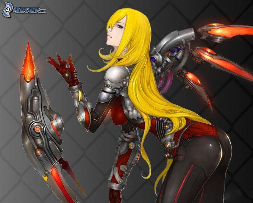 gra komputerowa, kobieta narysowana, blondynka, długie włosy