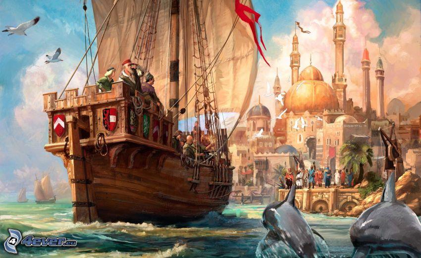 gra komputerowa, rysunkowa żaglówka, malowidło, skaczące delfiny