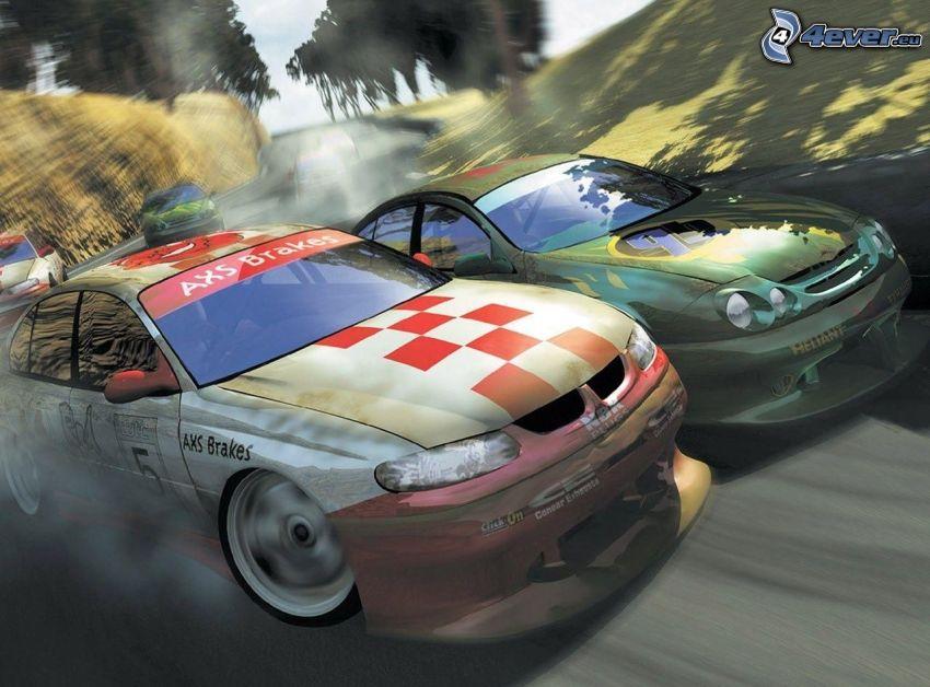 gra komputerowa, wyścigi, auta wyścigowe