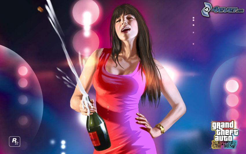 Grand Theft Auto, brunetka, szampan