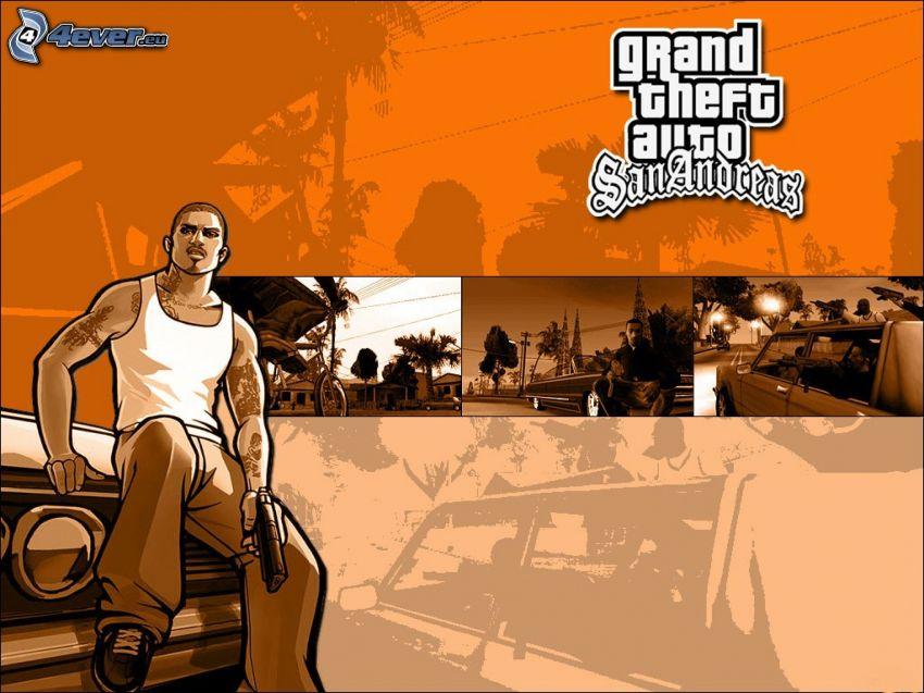 Grand Theft Auto, gangster, mężczyzna z pistoletem