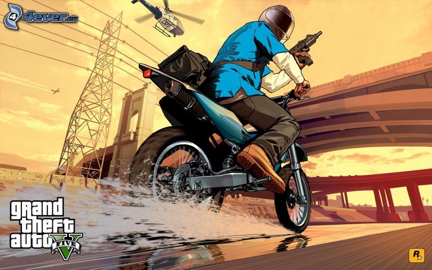 Grand Theft Auto V, gangster, motocyklista