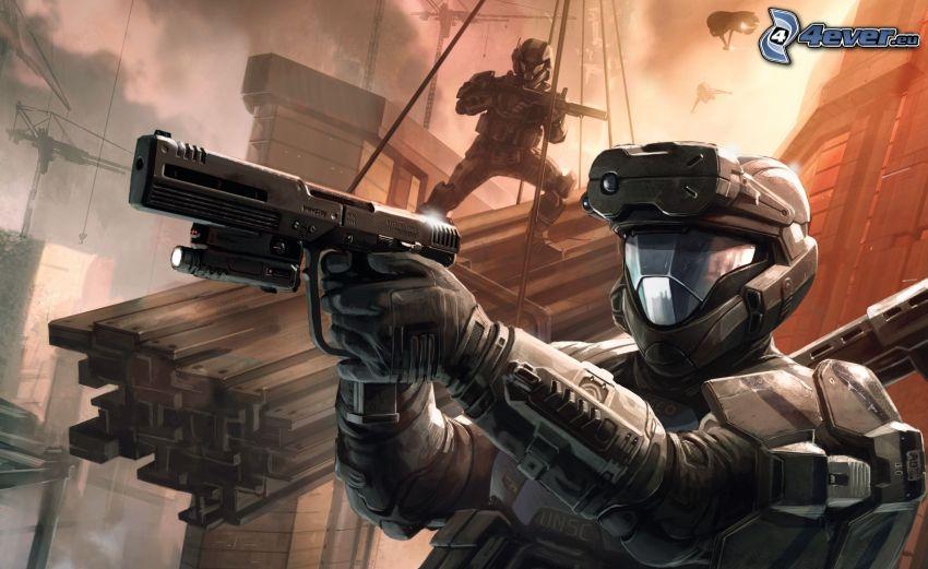 Halo, żołnierze, sci-fi żołnierz