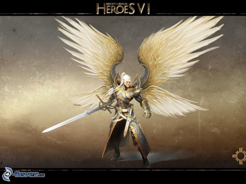 Heroes VI, fantazyjny bojownik, białe skrzydła
