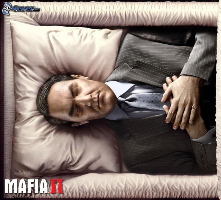 Mafia 2, mężczyzna w garniturze, trup, trumna
