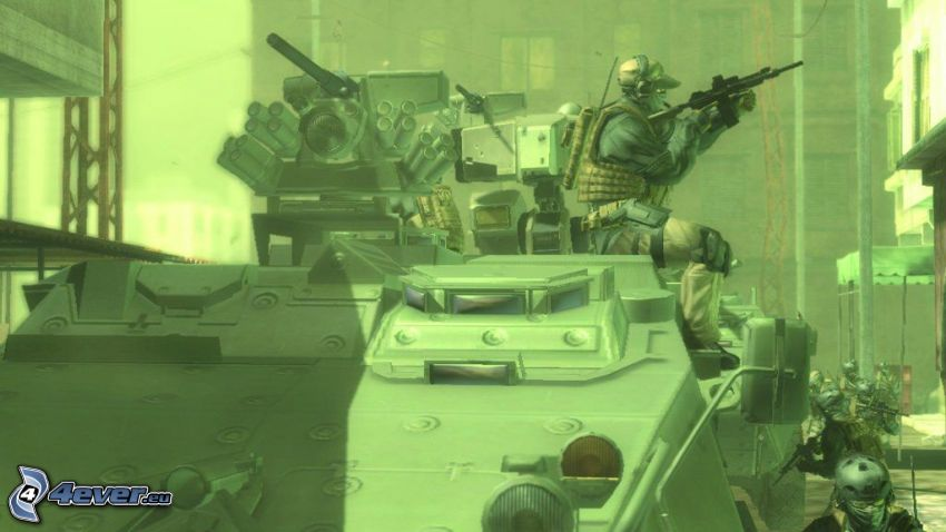 Metal Gear Solid 4, czołg w mieście