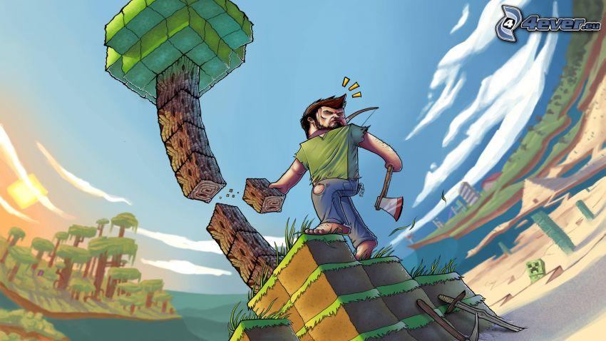 Minecraft, rysunkowa postać, drzewo, topór